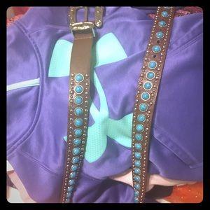 Leather Turquoise Western Belt